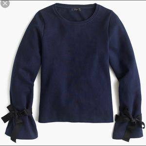 J. Crew Tie-Sleeve Sweatshirt Navy Blue Size Small